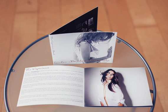 The trifold and the Experience Book for London Boudoir Photography shows our images, they are our Marketing